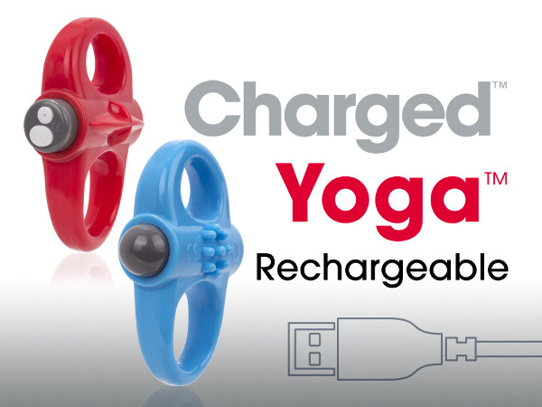 The new Charged Yoga, part of a growing family of rechargeable versions of Screaming O classics, is an extra-stretchy cock ring that reduces constriction and may be worn in three different ways.