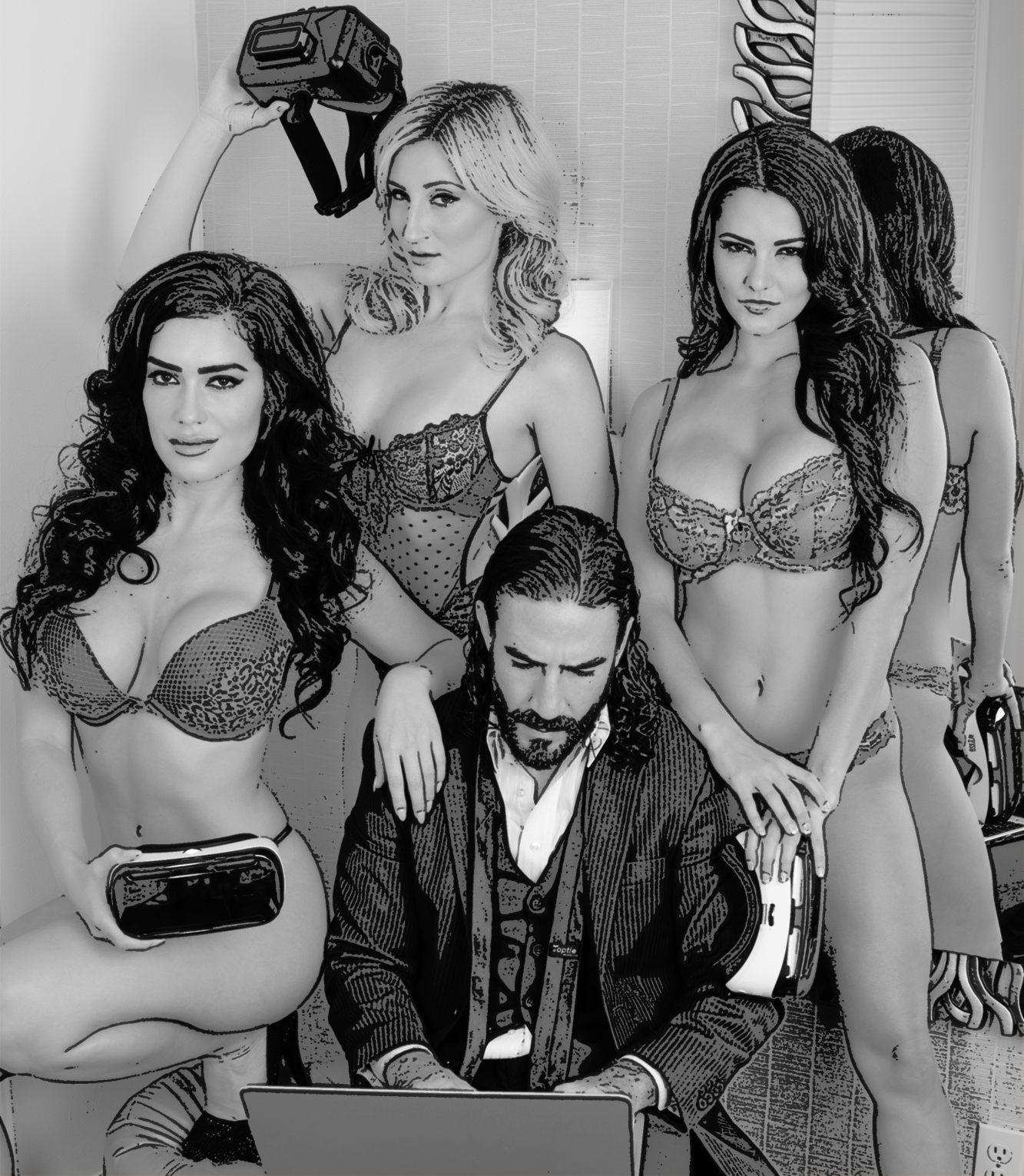 Daniel DiLallo and models on set